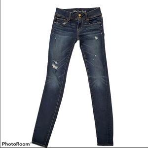 American Eagle Ripped Denim Jeans Skinny Dark 00